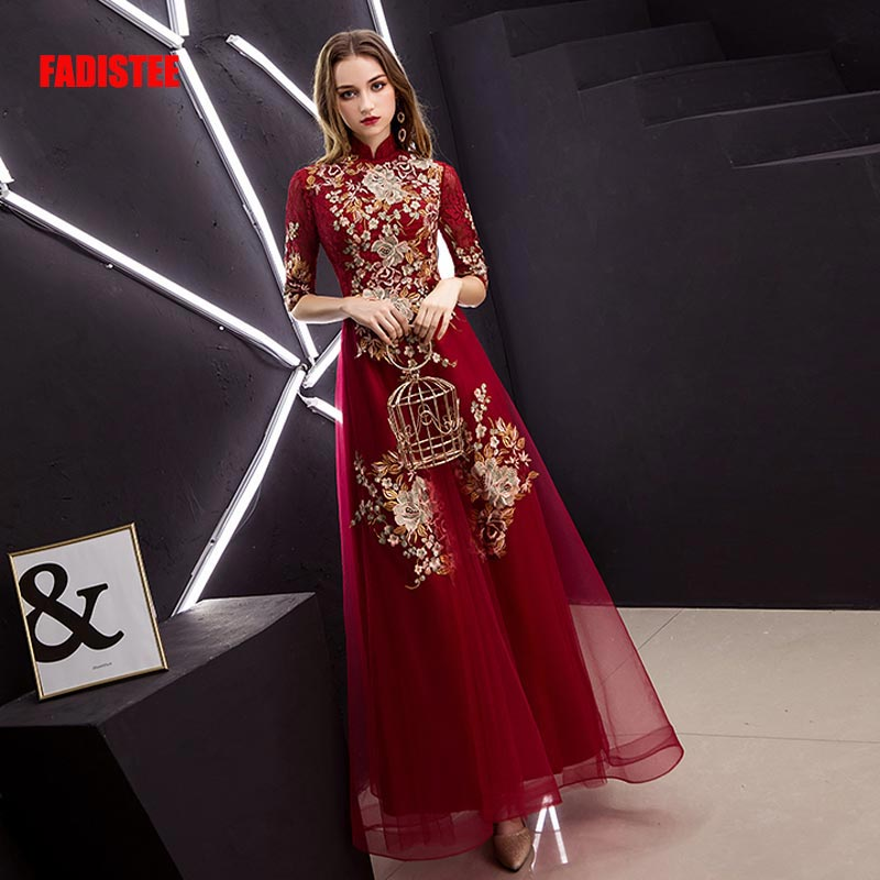 FADISTEE New arrival Vestido De Festa Sweet Long   Evening     Dress   Bride Party half sleeves Prom   Dresses   Burgundy high neck lace