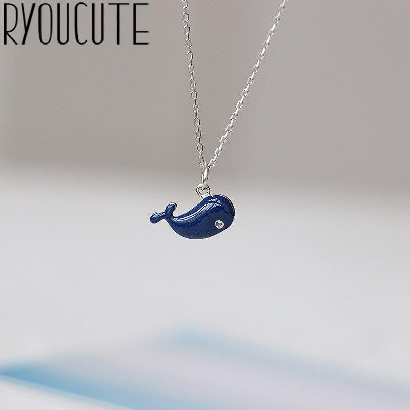Collar de plata de primera ley con forma de ballena para mujer, Gargantilla, plata esterlina 925, Color azul, estilo bohemio