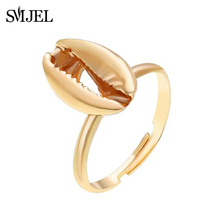 SMJEL Fashion Big Shell Rings for Women Trendy Simple Finger Ring Adjustable Gold Color Anillos Female Party Lovers Jewelry Gift