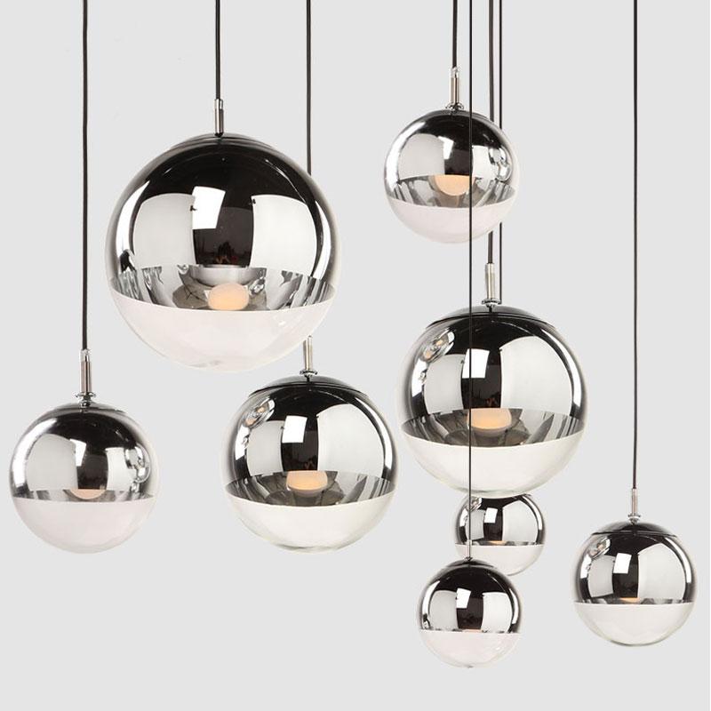 Moderní skleněné koule s přívěskem světla dekorace restaurace zrcadlo lampa jídelna kuchyně závěsné vnitřní E27 přívěsek lampa