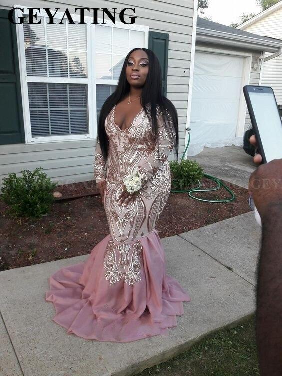 Rose or Rose Sequin grande taille sirène robes de bal africaines 2019 Sexy col en v manches longues en mousseline de soie robe de Gala formelle pour les femmes