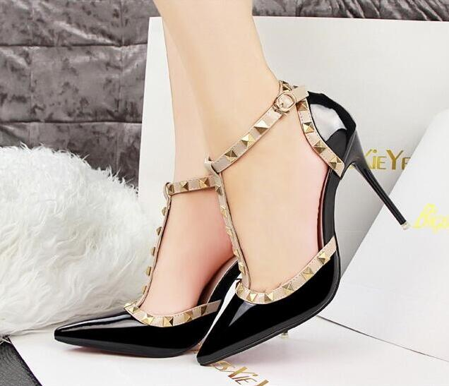 01e230bb0937 Free shipping Pumps 2018 Women s shoes Summer fashion female sandals rivet  Metal decoration pu leather style