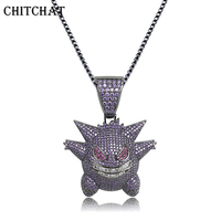 Cute Little Monster Necklaces Full Rhinestone Iced Out Pendants Hip Hop Men Women Silver Color Vogue Jewelry For Student