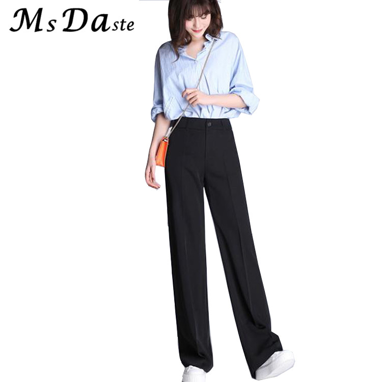 2017 Formal Wide Leg Pants Women Trousers High Waist Straight Loose Pants Workwear Capris Pantalones Mujer Black Plus Size S~4XL ...