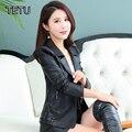 4XL Плюс размер Женщин Искусственной Кожаные Куртки Высокого Качества Осень PU Верхняя Одежда Кожа Пальто Черный/Red/Orange/розовый/Тонкий 606