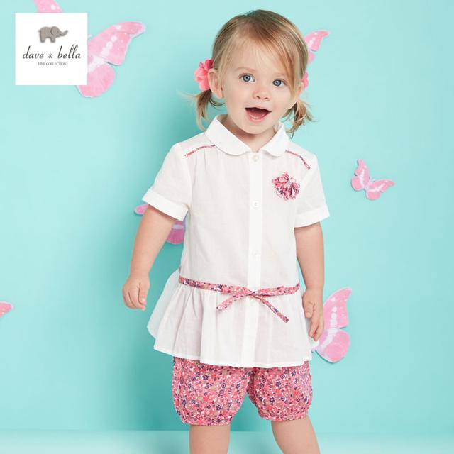 DB3169 dave bella verano de los bebés floral roja impresa conjuntos de ropa de niño fijó la ropa infantil niños conjuntos