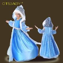 Горячая фантазия Обувь для девочек Снежная королева праздничное платье принцессы с накидкой Анна длинное платье для девочки Рождество без рукавов платье Эльзы