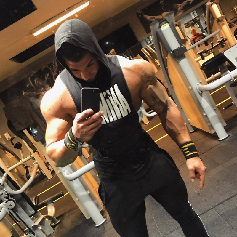 Men Bodybuilding Cotton Tank top Gyms Fitness Hooded Vest Sleeveless Shirt Summer Casual Fashion Workout Brand Clothing 32