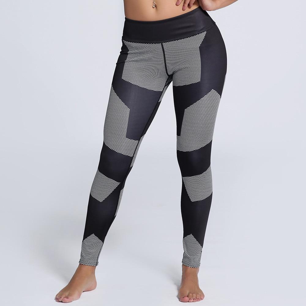 Ženy černé a šedé náplasti Fitness rychleschnoucí legíny vysoké pasy po celé délce strečové vlákno energie kalhoty cvičení kalhoty