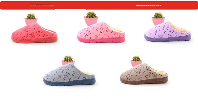 Free Shipping LOVE design coral velvet couple models home cotton slippers pink purple red