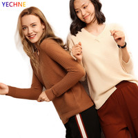 New 35% Cashmere Autumn Winter Sweater High Quality Kitted V Collar Fashion Irregular Hem Women's Sweater 8201 170