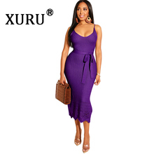 XURU New Womens Sexy Bright Color Dress Knitted Crochet Sling Cotton Blend Candy Fashion Casual