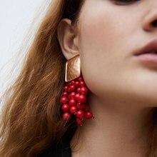 Atacado jujia marca quente declaração jóias acrílico gota brincos artesanal frisado longo borla brincos para as mulheres