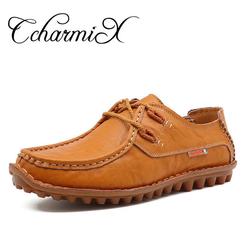 CcharmiX New Arrival Fashion Genuine Leather Men Casual Shoes Lace Up Mens Leather Loafers Man Winter Handmade Rubber Flats 2017 simple common projects breathable lace up handmade leather shoes casual leather shoes party shoes men winter shoes