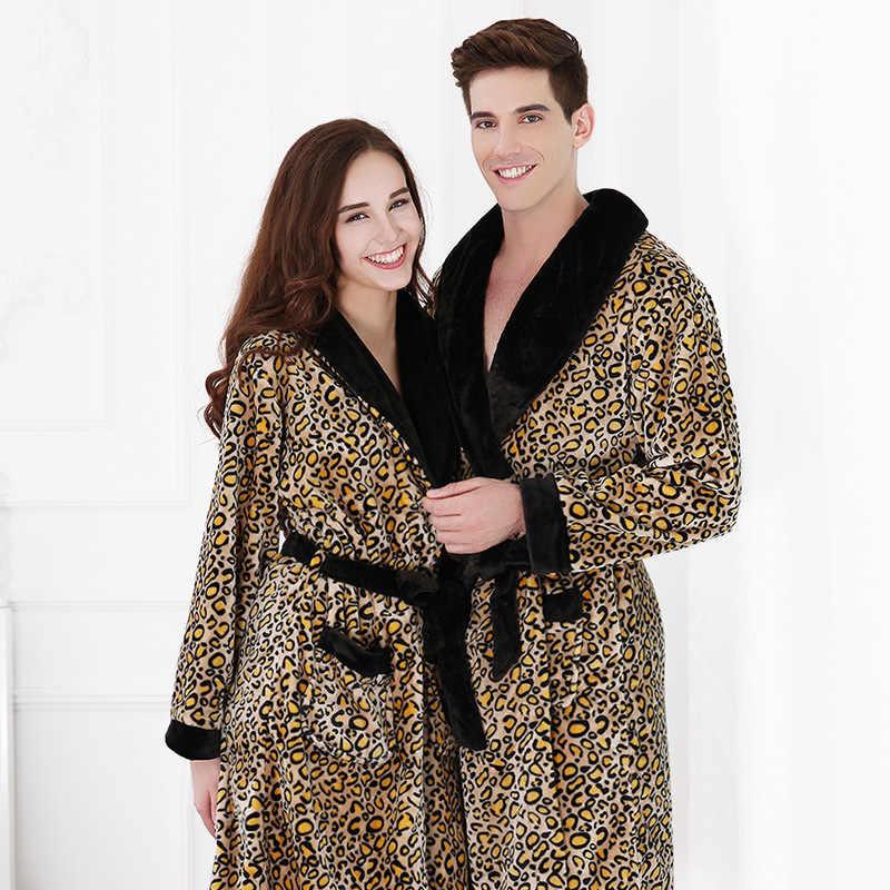 2589f109df New Love Couples Robe Autumn Winter Men Mink Flannel Thick Warm Bathrobes  Male Home Leopard Bath