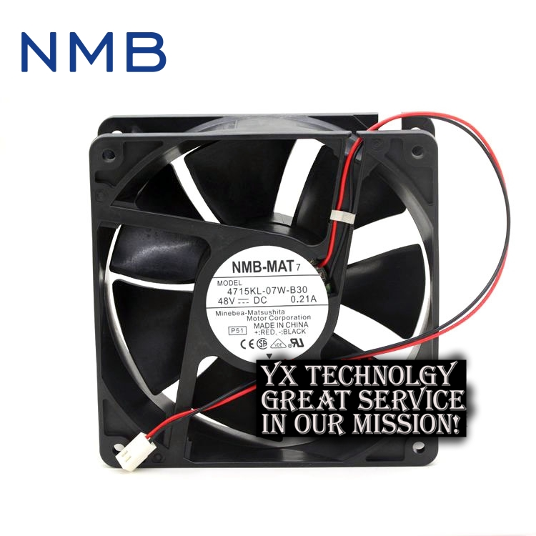 NMB 120*120*38mm 2-wire 12038 12CM 4715KL-07W-B30 48V 0.21A inverter DC fan delta afb1212hhe 12038 12cm 120 120 38mm 4 line pwm intelligent temperature control 12v 0 7a
