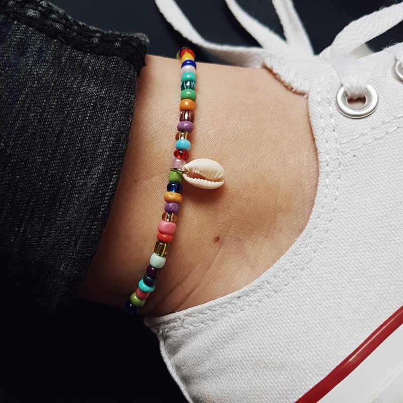 JCYMONG 2019 新自由奔放シンプルなミックス女性の夏ビーチフットジュエリーファッションシェル足首のブレスレットに脚