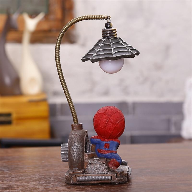 Cartoon Avengers Action Figures Spider Man Night Lamp Resin Children Bedroom LED Night Light for Boy Kids Xmas Creative Gift (12)