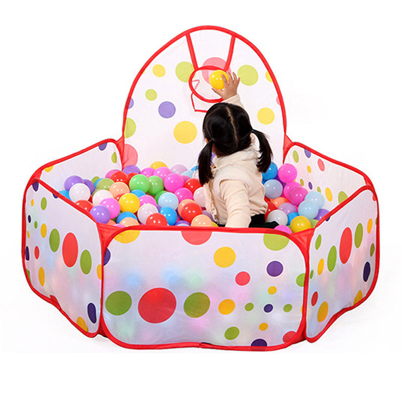 Large Children Kids Ocean Ball Pit Pool Game Play Tent with Ball Hoop Indoor Outdoor Garden Playhouse Foldable Kids Basket Tent