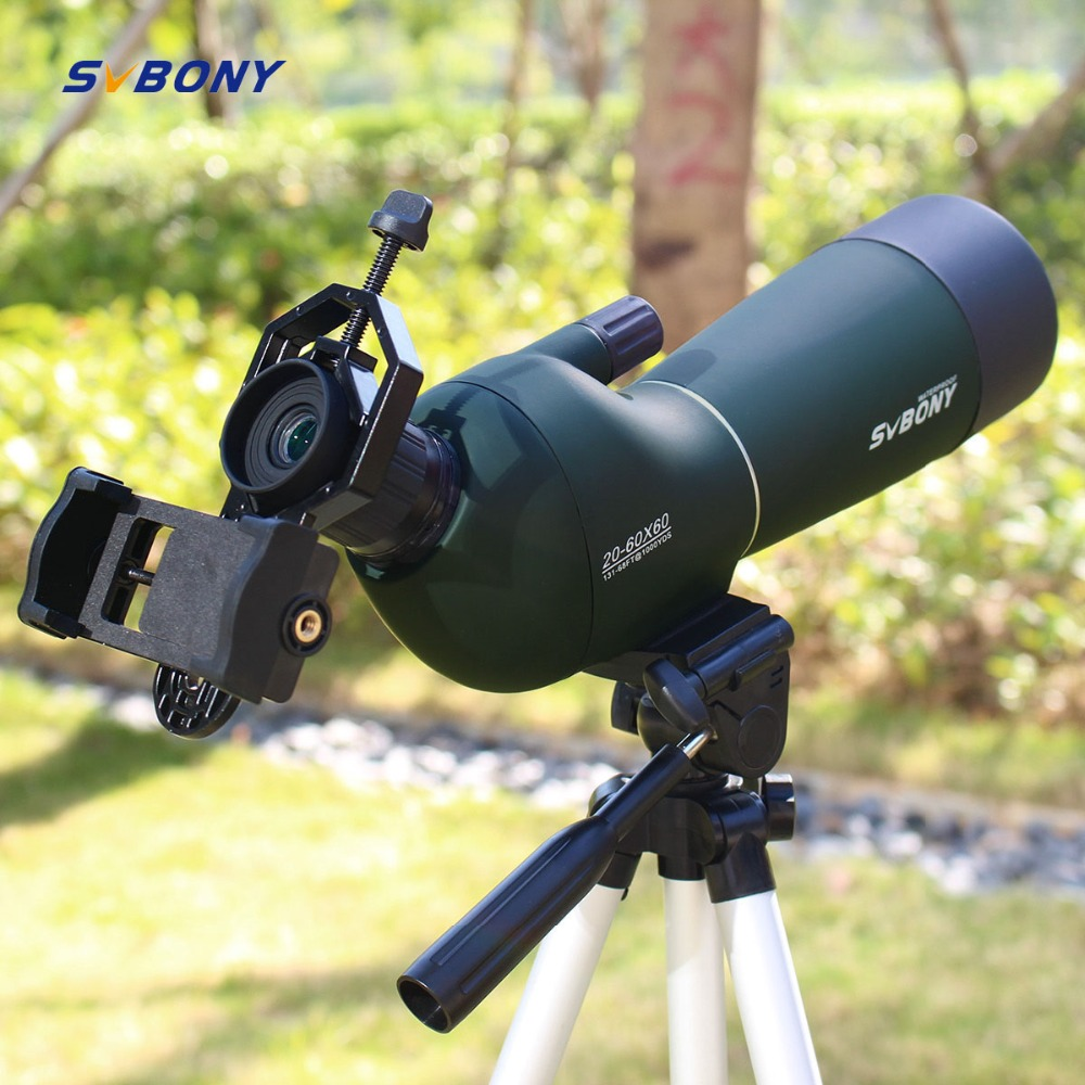 SV28 20 60x60 Spotting Scope Zoom Monocular Hunting Telescope Birdwatch & Universal Phone Adapter Mount Waterproof SVBONY F9308-in Spotting Scopes from Sports & Entertainment    1