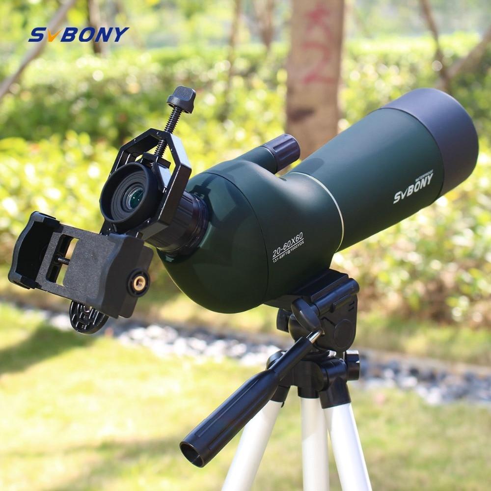 SV28 20 60x60 Spotting Scope Zoom Monocular Hunting Telescope Birdwatch & Universal Phone Adapter Mount Waterproof SVBONY F9308-in Spotting Scopes from Sports & Entertainment