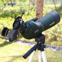 Sv28 20 60x60 스포팅 스코프 줌 단안 사냥 망원경 birdwatch & 범용 전화 어댑터 마운트 방수 svbony f9308