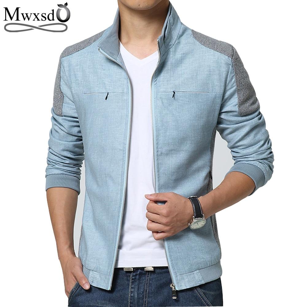 Mwxsd Brand Spring autumn Men Jackets Fashion Casual Men's Coats Slim Fits Plus Size 3XL Linen Men's Clothing Soft Outwears