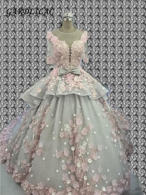 Gardlilac Ball Gown Wedding Dresses 2017 Real Photo 3D Floral Handmade Flowers Court Train Half Sleeves