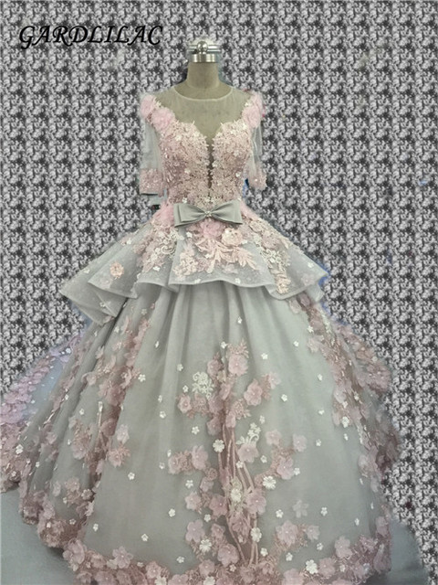 Gardlilac Ballkleid Brautkleider 2017 Real Photo 3D Floral Handmade ...