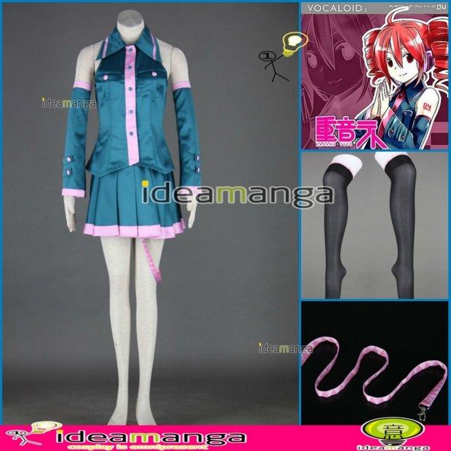[ideamanga]Manga Amime V+ VOCALOID Miku teto Kasane Teto  chimera woman's Cosplay Costume Female halloween party dress Any Size