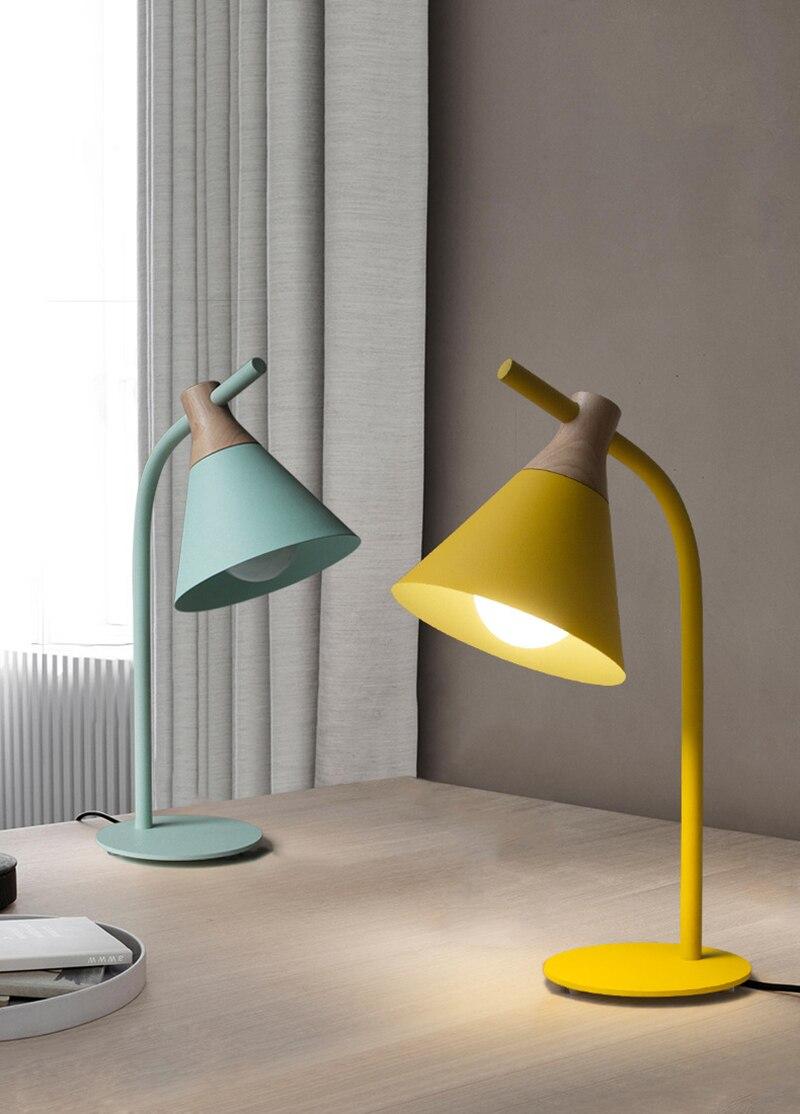 Современная Европейская железная Настольная лампа с деревянным основанием, простая настольная лампа, светодиодный E27 с 4 цветами для учебы, спальни, гостиной, книжного магазина, кафе