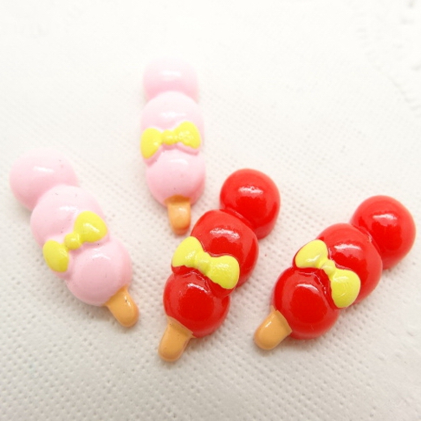 Hot Sale For Diy Decoration 20pcs,2colors,9*24mm Kawaii Flat Back Resin Cabochon Icecream