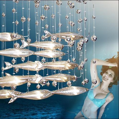 Modern Fashion Cystal Glass Flying Fish Pendant Light For