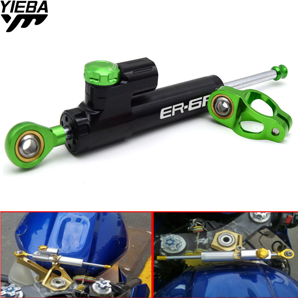 Universal Aluminum Motorcycle Damper Steering Stabilize Safety Control For KAWASAKI ER6F ER-6F 2006-2017 ER6N NINJA 300 650R universal motorcycle m8 1 25 cnc aluminum clutch cable wire adjuster for ktm 350 400xcf w honda kawasaki ninja 300 abs er 6f