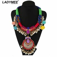 LADYMEE New Design Luxury Handmade Beaded Chunky Chain Necklaces Statement Jewelry Indian Vintage Multi Color Necklace