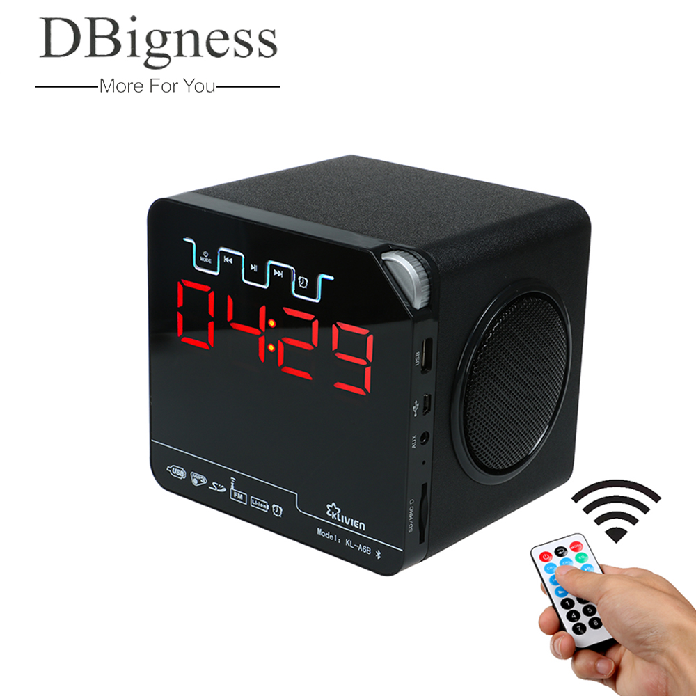 Dbigness Bluetooth Speaker caixa de som Portable Bluetooth Speaker Wireless FM Radio Speaker with Alarm Clock LED Time Display remote control vibration speaker adin mini portable fm radio speaker mp3 stereo small bass hifi metal tf speaker caixa de som