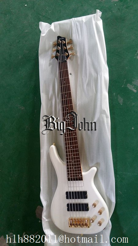 free shipping new Big John 6 string white color gold hardware two pcs pickups electric bass guitar F 3002