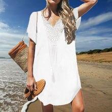 Женское летнее свободное мини-платье с коротким рукавом, Дамское летнее платье-рубашка, праздничная пляжная одежда, топы, платья Ups