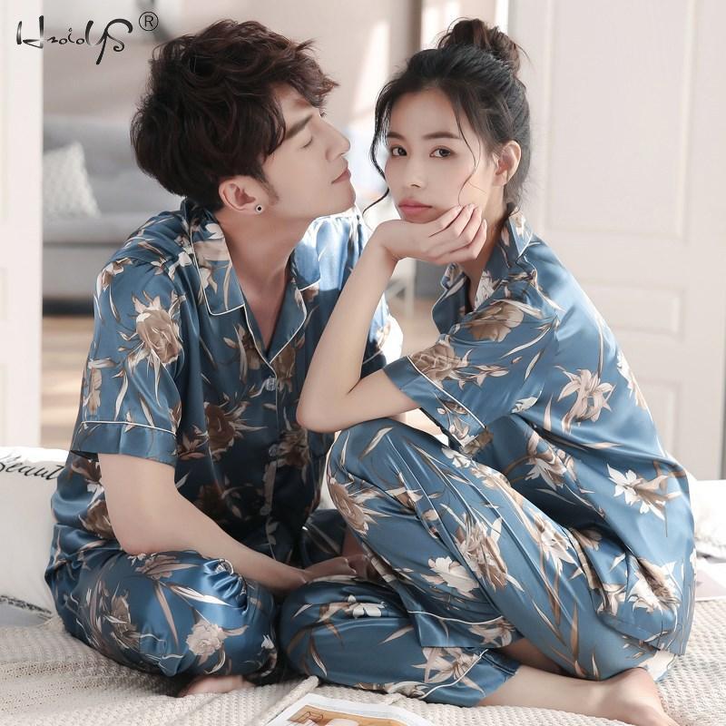 Couple Pajamas Set Women Mens Silk Satin Pajama Set Couples Long Sleeve Sleepwear Homewear Pj Unisex Pyjamas Plus Size M-3XL