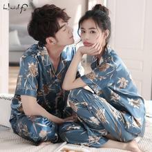 Pajamas-Set Sleepwear Couple Silk Satin Pj Mens Women Plus-Size Unisex M-3XL