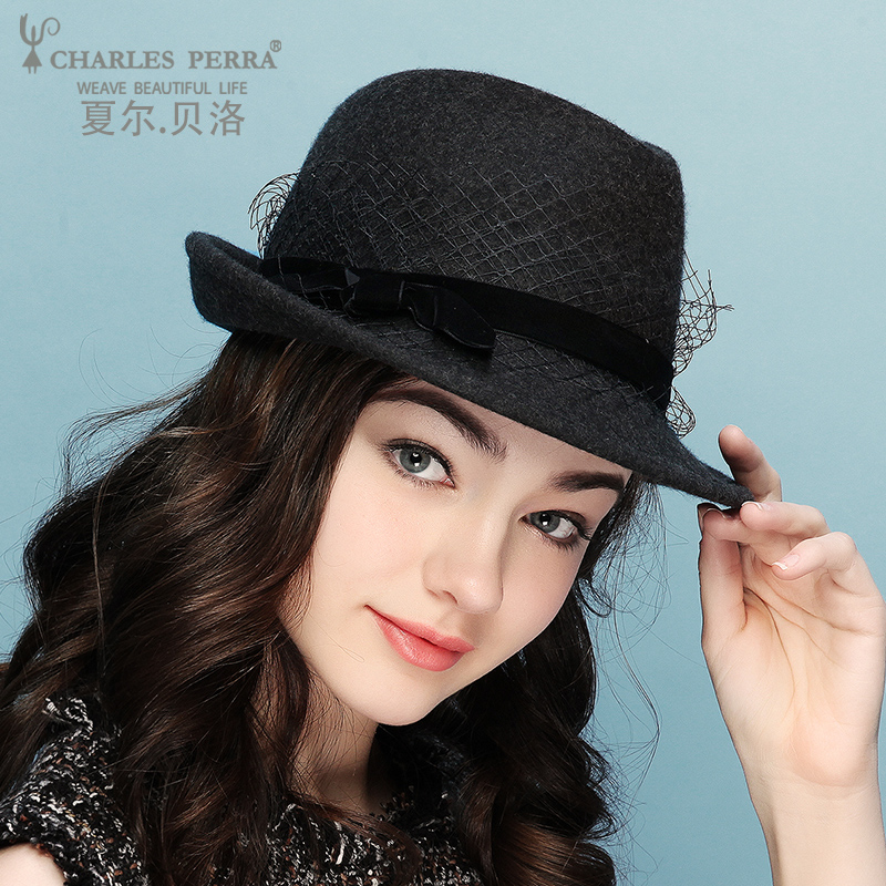 Lady New Fedoras Hat Girls Woolen Hat Elegant Lady's Crimped Panama Jazz Hat Girls Wide Brim Veil Jazz Cap Fedoras Hat B 8671