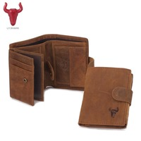 Top Male Wallet Men Leather Genuine Grazy Horse Cowhide Men S Short Purse Vintage Big Capacity