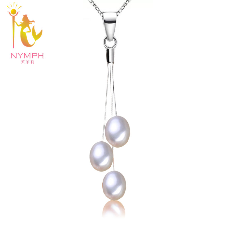 Pearl Necklace Pendant Sterling Silver jewelry pearl pendant necklace pearl pendant for women P08-1