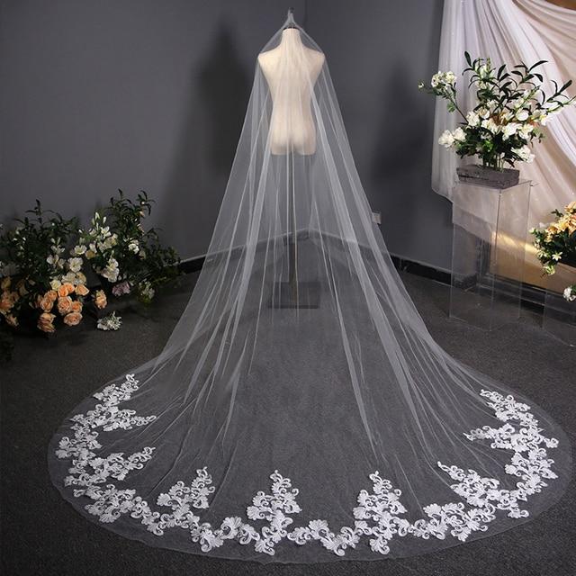 Voile Mariage 3 M Wedding Veil With Comb Lace Edge Cathedral Wedding Veil White Ivory Bridal Veils velos de novia 2019 largos