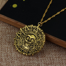 Tropical Pirate Caribbean Necklace Pendant Gold Coin Medal Shantou Johnny Depp Movie Jewelry Mens and Womens Gift Jewe