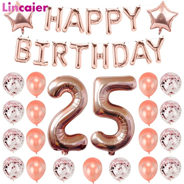 Lincaier Number 25 Balloons Birthday Party Decorations Years Old 25th Supplies Ballon Rose Gold