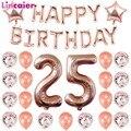 Воздушные шары с цифрами 25, украшение для вечеринки в честь Дня Рождения, 25 лет, 25 дней рождения, цвет розовое золото, для мужчин и женщин, 52, т...
