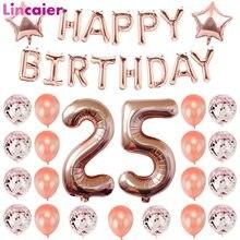 Número 25 balões feliz aniversário decorações de festa 25 anos de idade 25th aniversário rosa homem de ouro mulher 52 52th suprimentos de aniversário