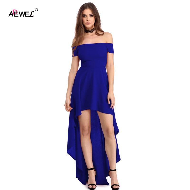 ADEWEL 2019 Women Off Shoulder Maxi Dress A Line Front Back Short - Veshje për femra