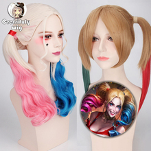 Anime Batman Suicide Squad Harleen Quinzel Cosplay Wig Synthetic Hair Halloween Costume Ponytail Wigs For Women Perucas + Cap цена